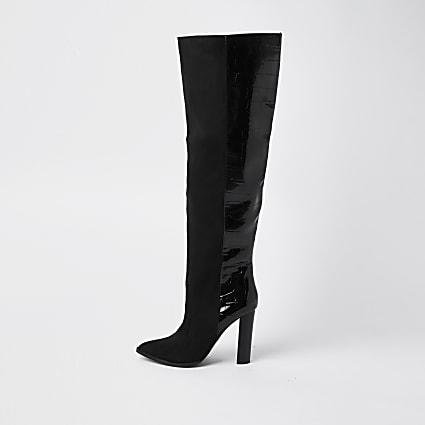 Black RI design high leg boots