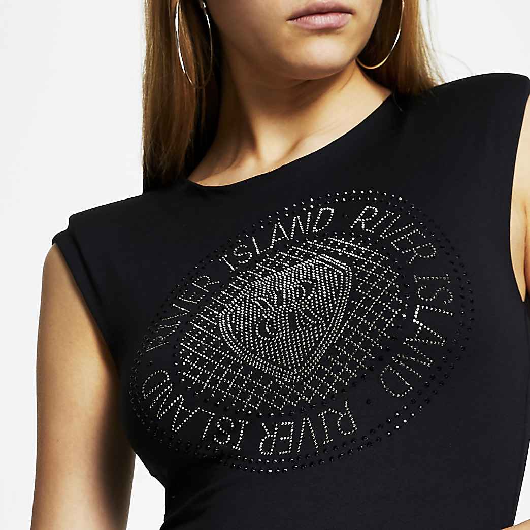 Black RI diamante bodysuit