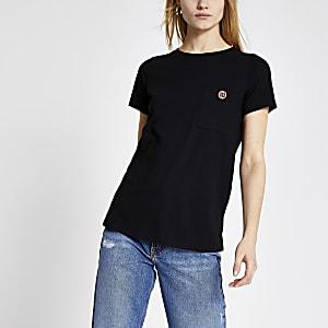 T-shirt noirà manches courtes avec bouton RI en strass