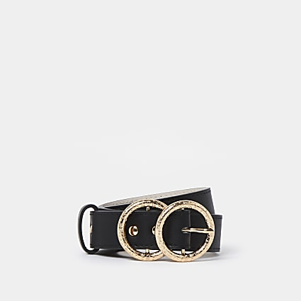 Black RI double ring buckle belt