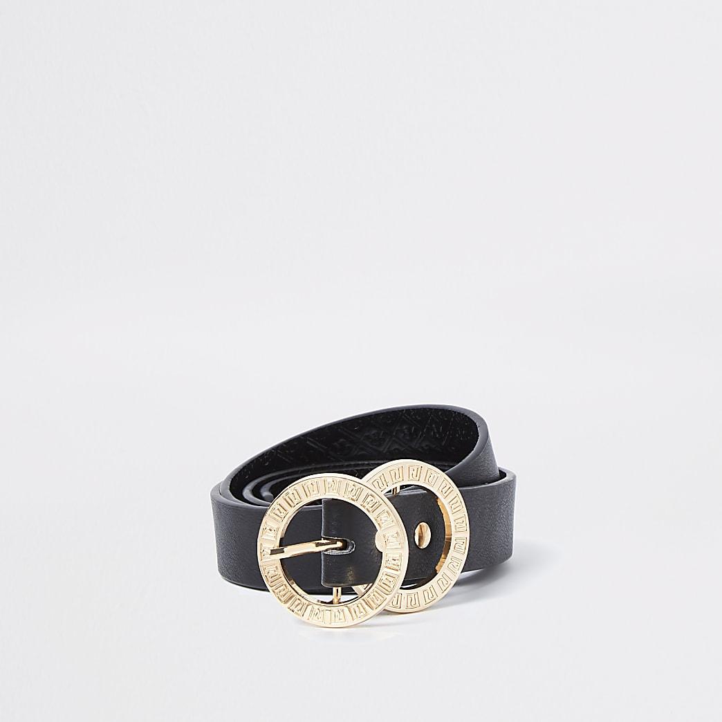 Black RI double ring buckle belt