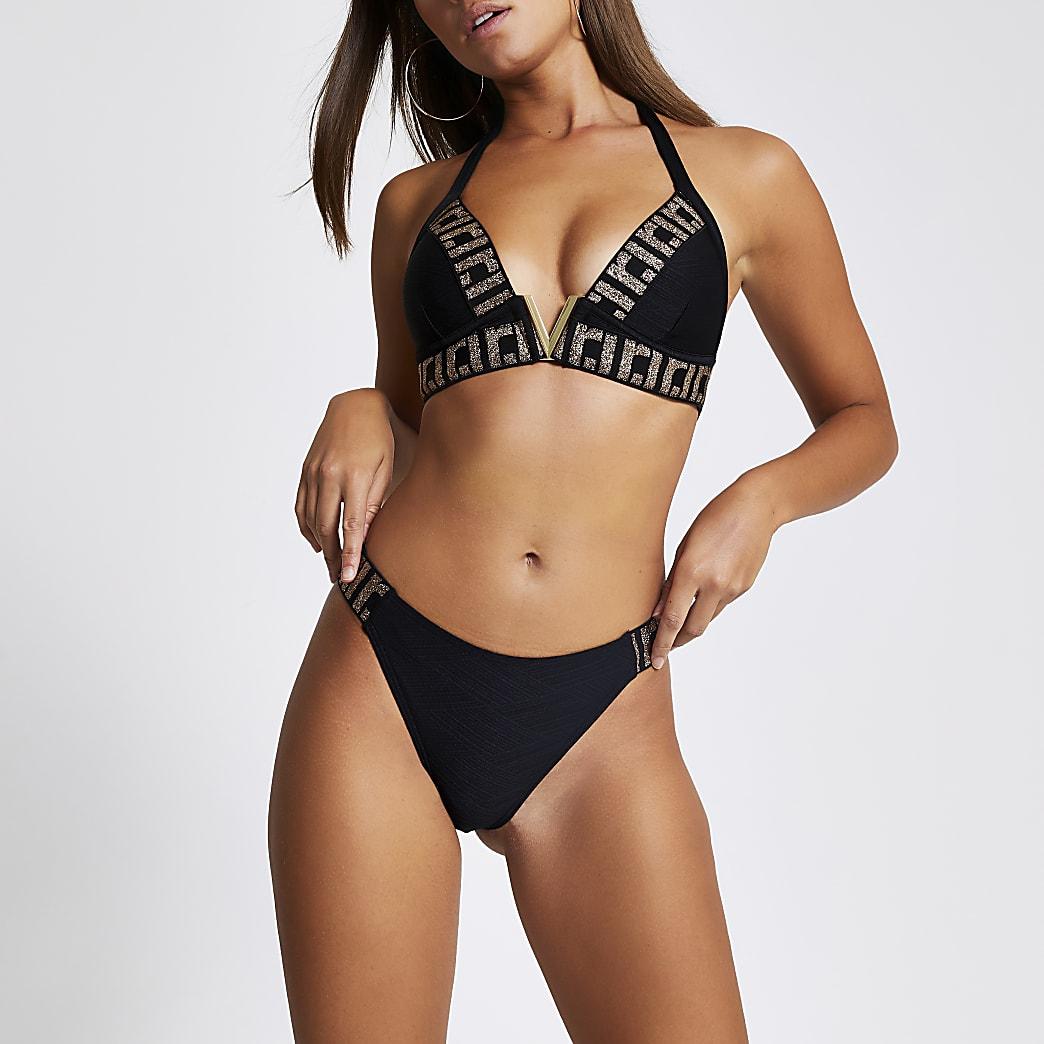 RI – Schwarze Bikinihose mit hohem Beinausschnitt und Verzierung