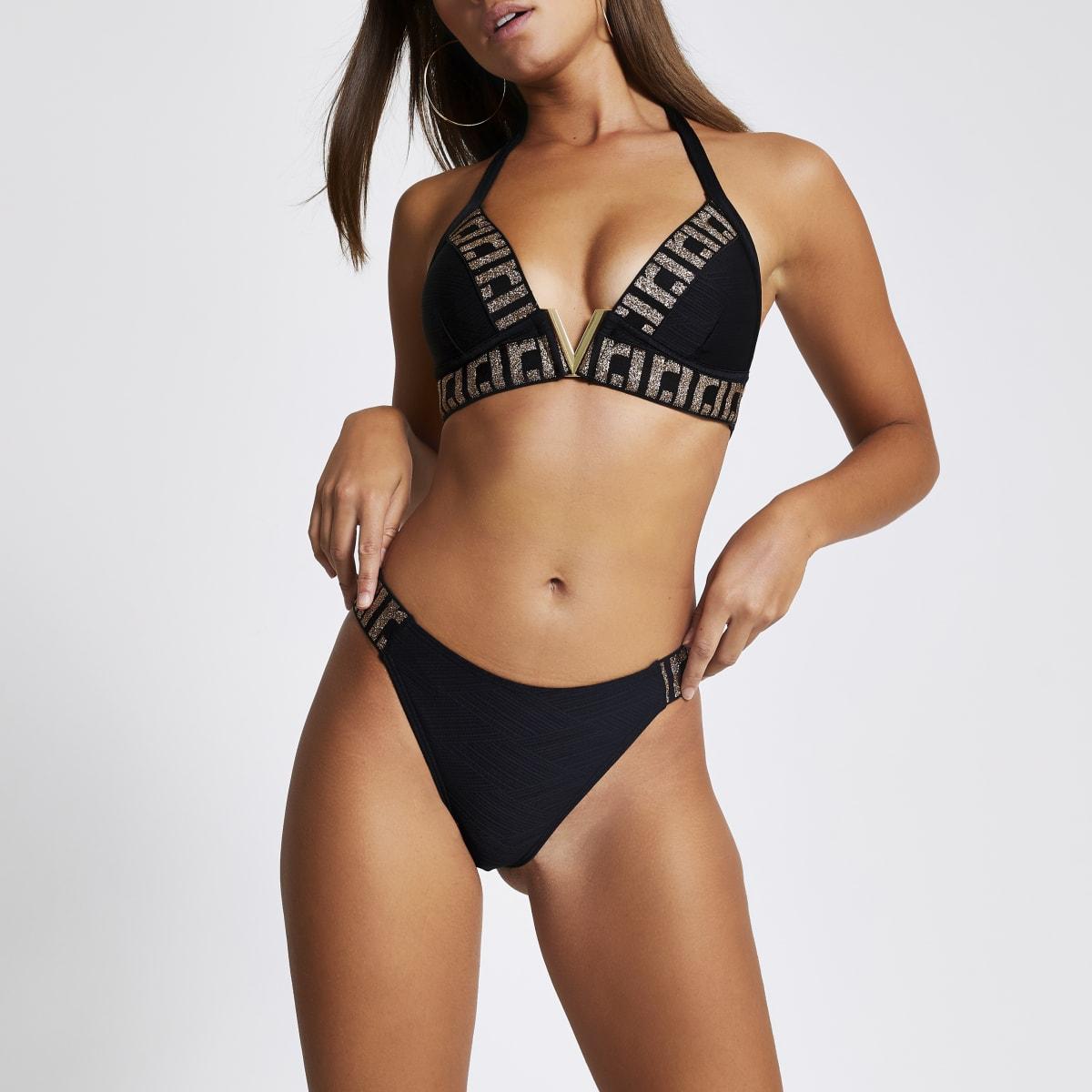 Black RI embellished high leg bikini bottoms