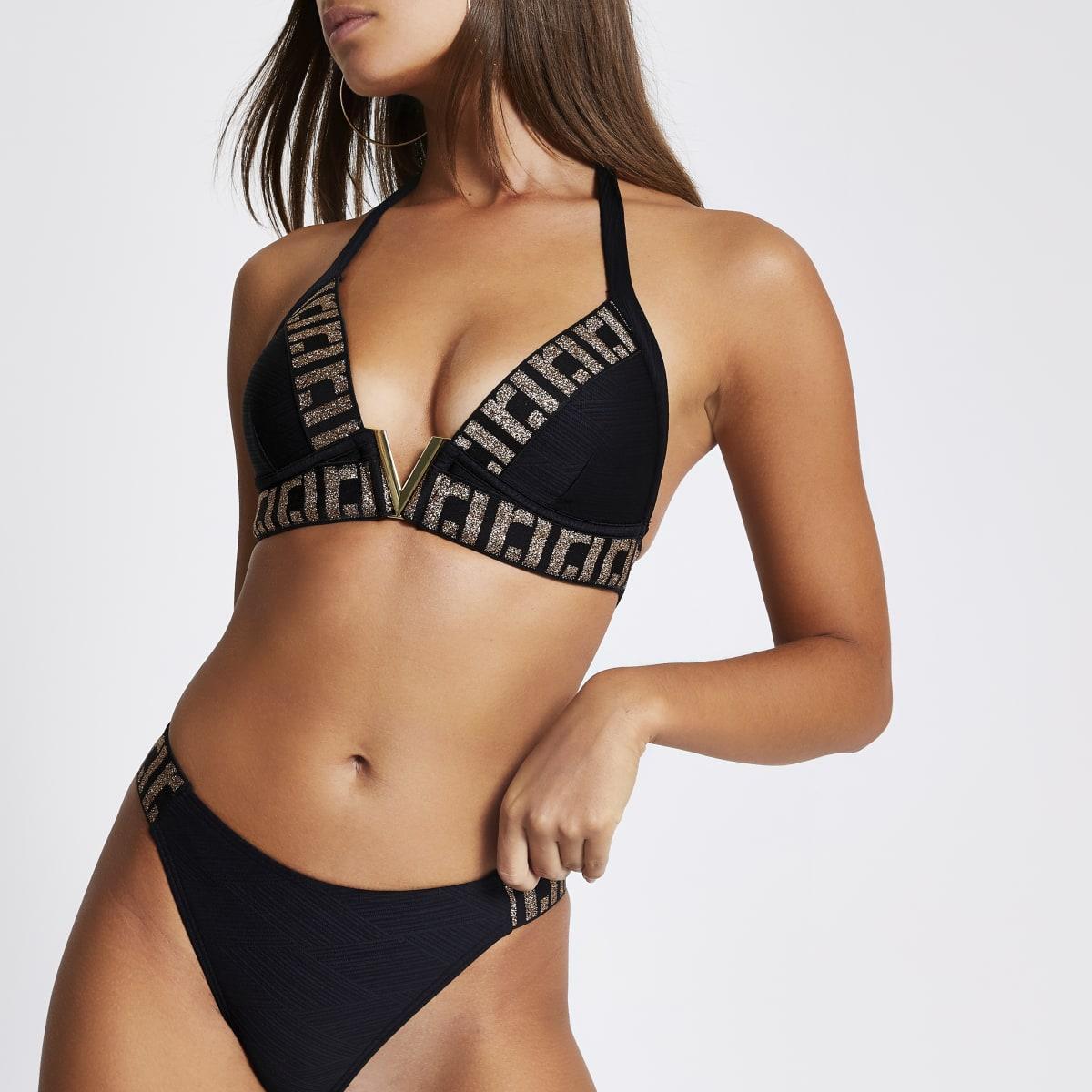 Zwarte verfraaide V-vormige bikinitop met RI-print