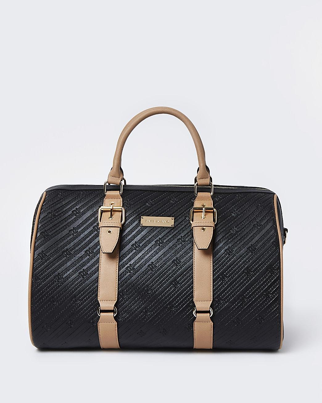 Black RI embossed barrel bag
