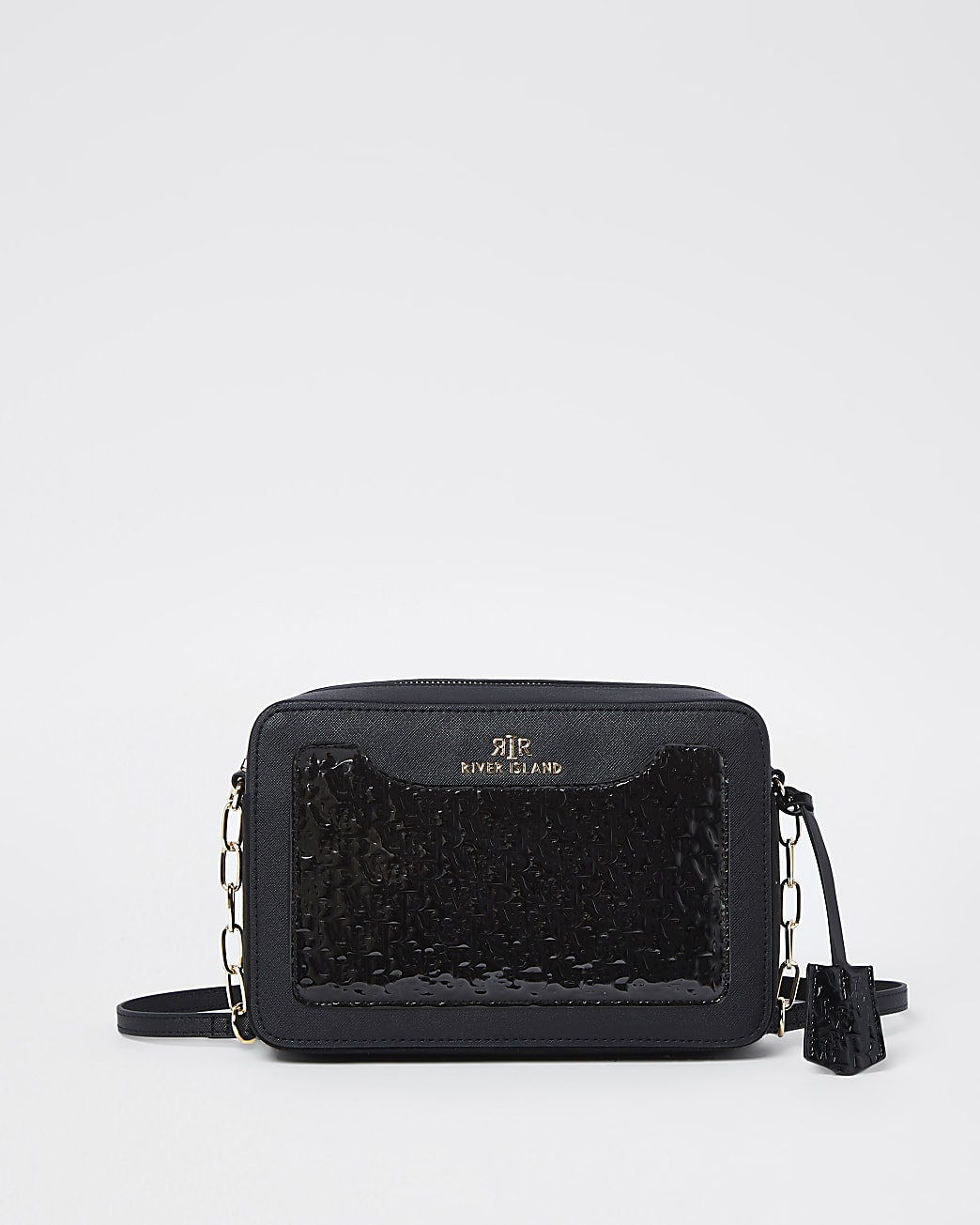 Black RI embossed boxy cross body bag