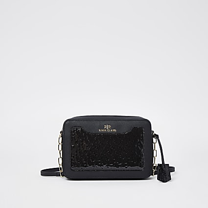 Black RI embossed boxy cross body bag