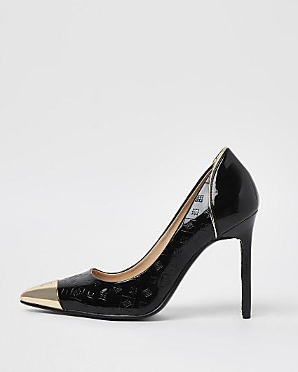 Black RI embossed court shoes