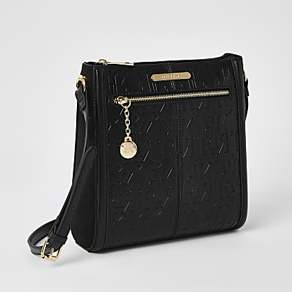 Black RI embossed cross body messenger bag