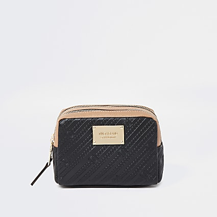Black RI embossed double zip make up bag