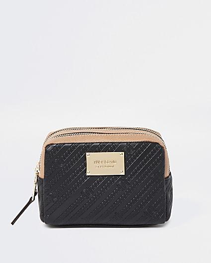 Black RI embossed double zip make up bag