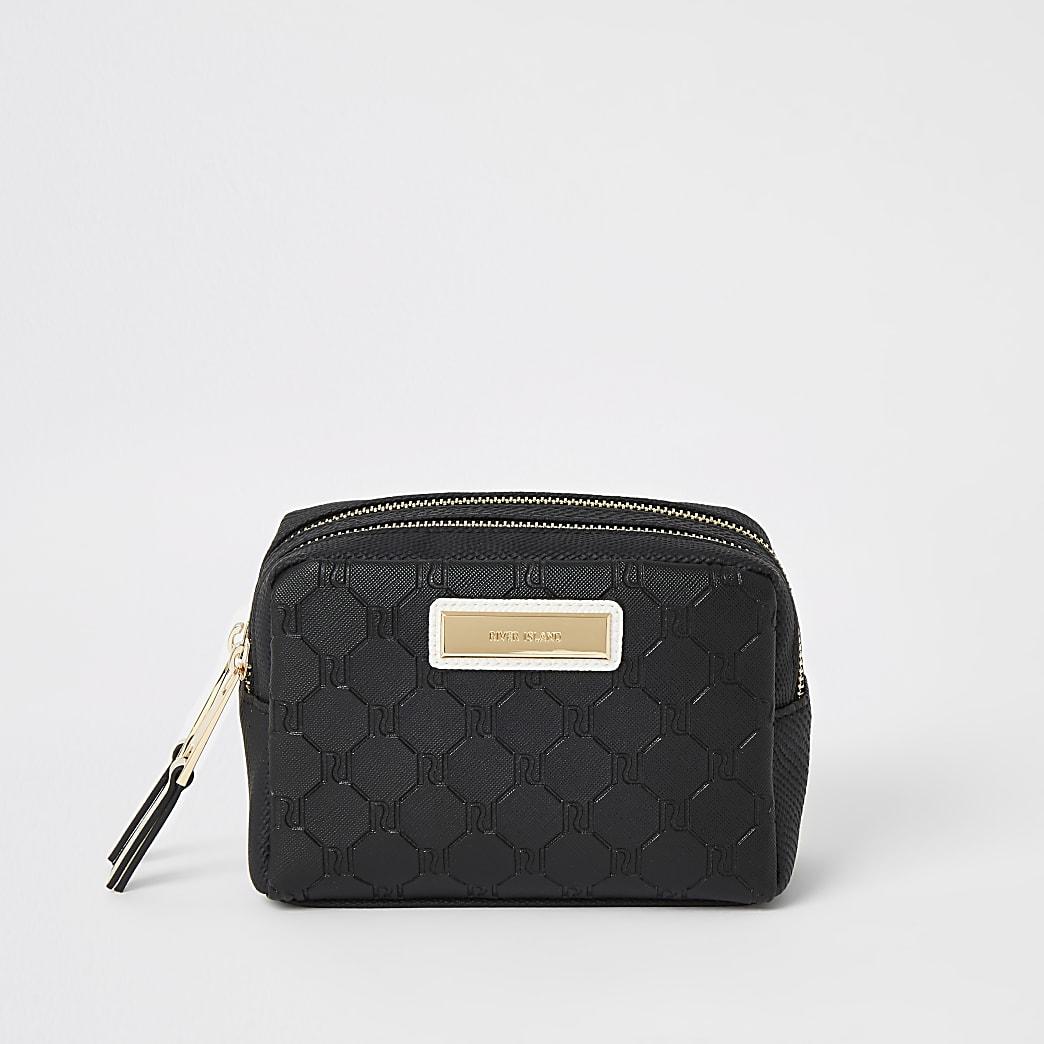 Black RI embossed double zip top make-up bag