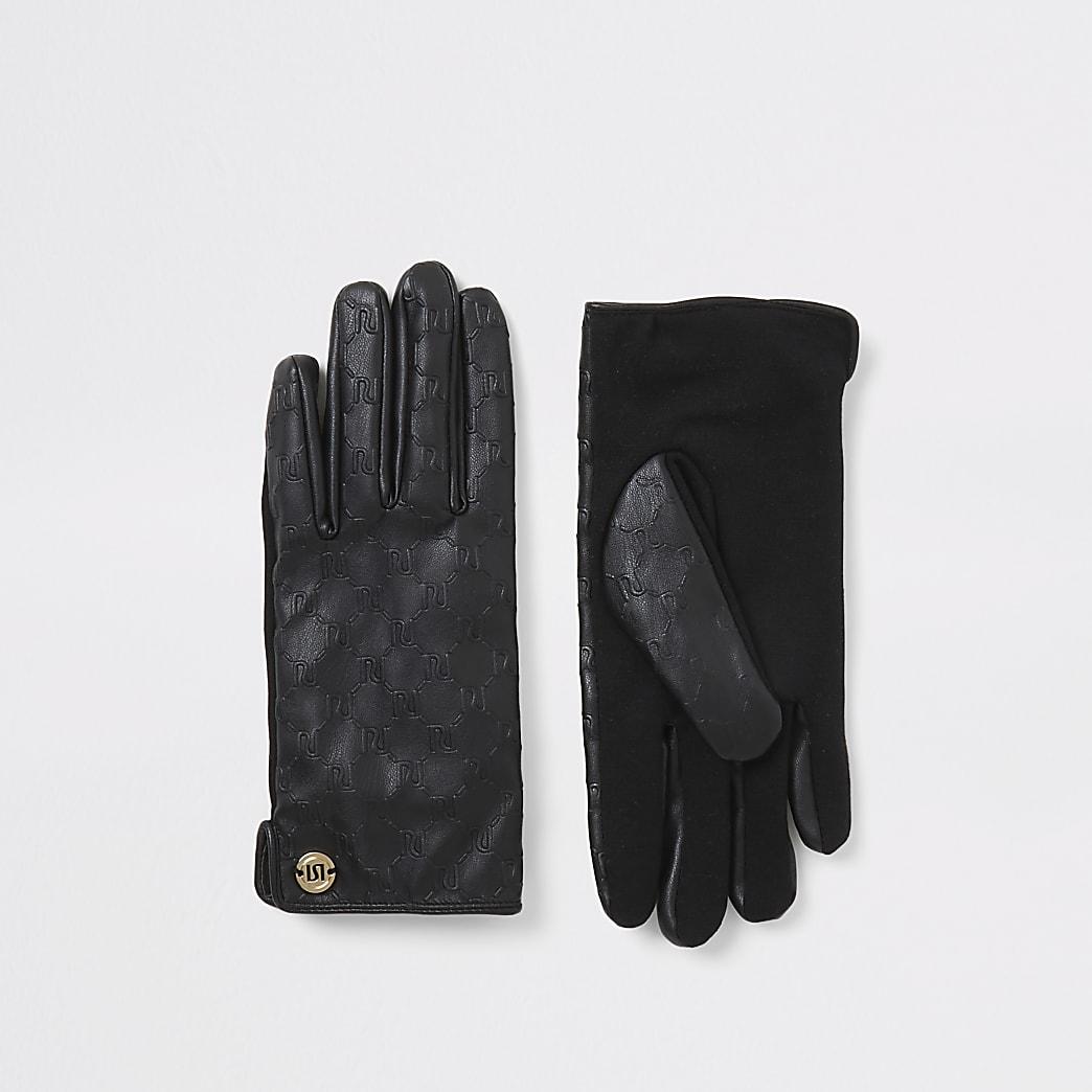 Gants noirs en cuir synthétiqueavec impriméRI en relief
