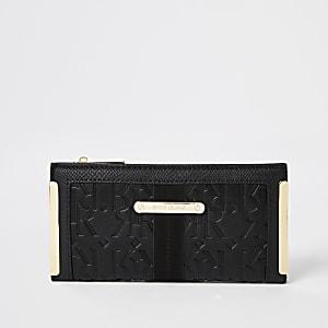Zwarte uitvouwbare portemonnee met RI-print in reliëf