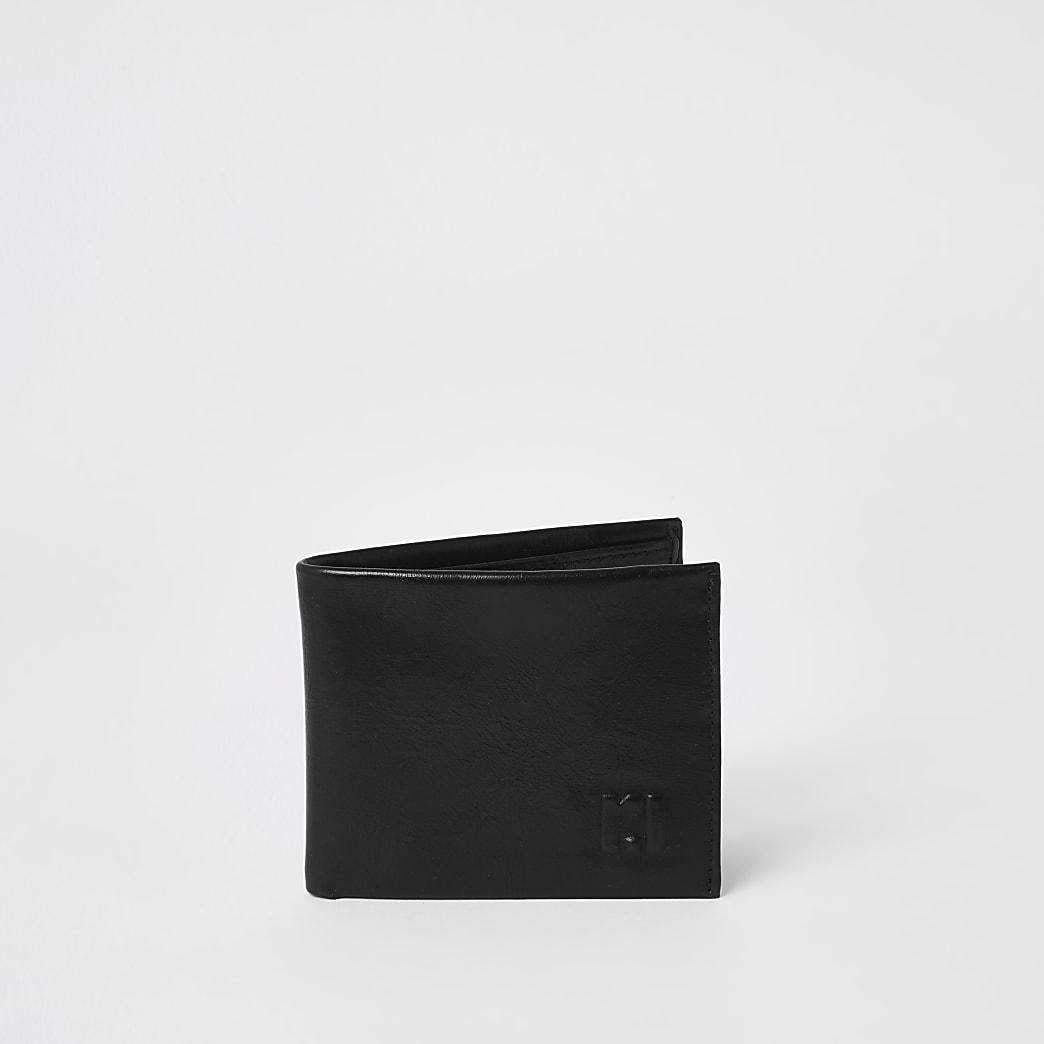 Zwarte uitklapbare portemonnee met RI-print in reliëf