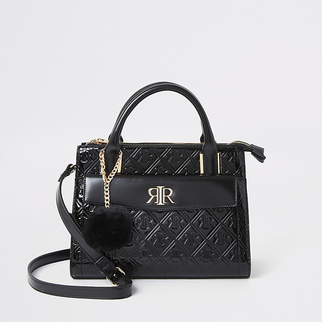 Black RI embossed front pocket tote bag