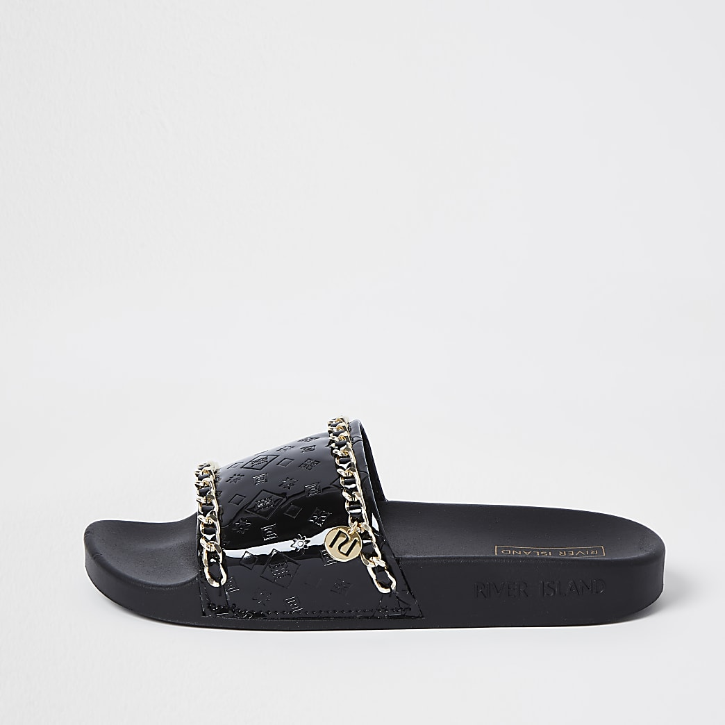 Black RI embossed gold chain sliders