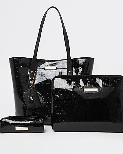 Black RI embossed handbag and laptop case set