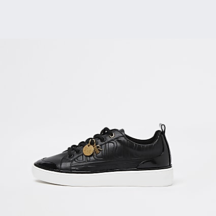 Black RI embossed lace up trainers