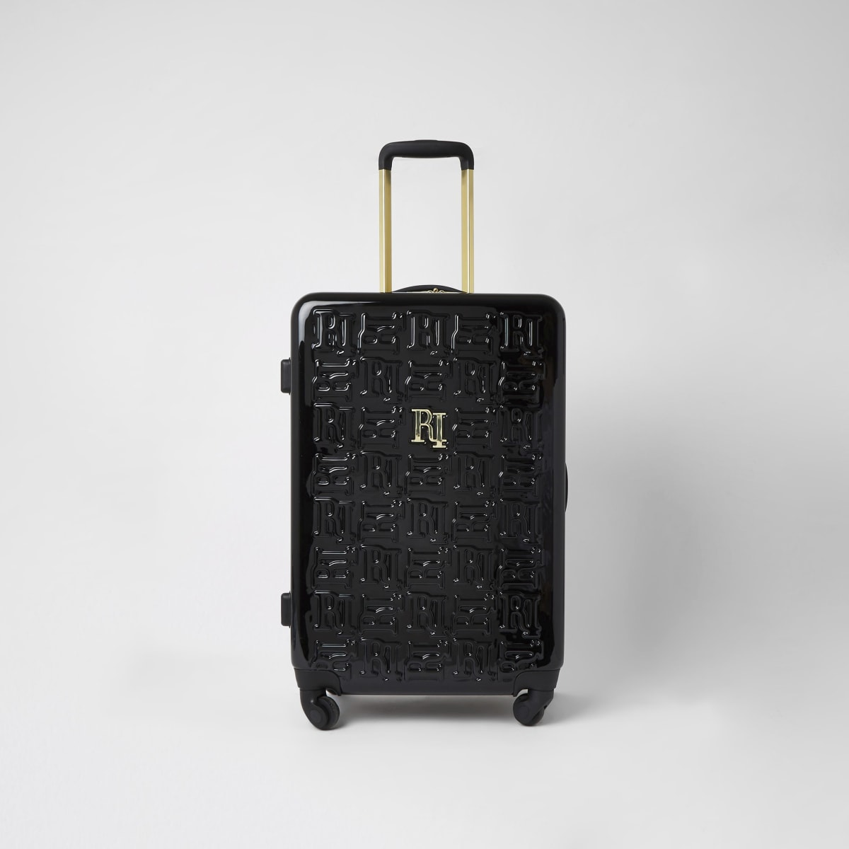 Zwarte medium koffer met RI-reliëf