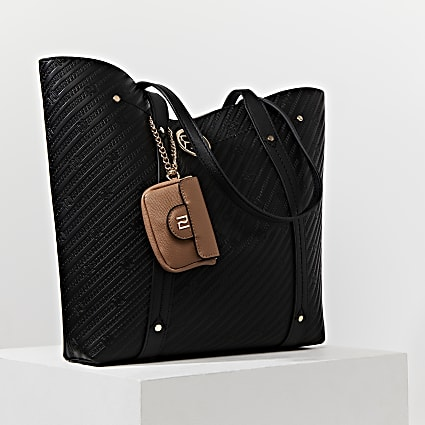 Black RI embossed mini pouch shopper bag
