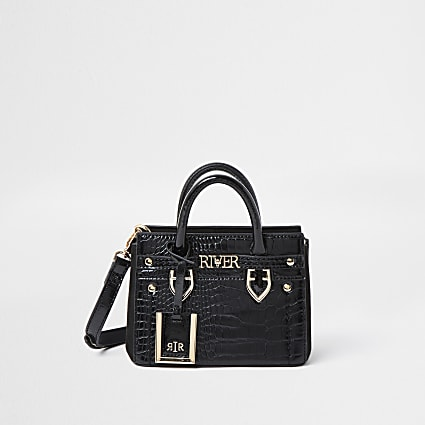 Black RI embossed mini tote bag
