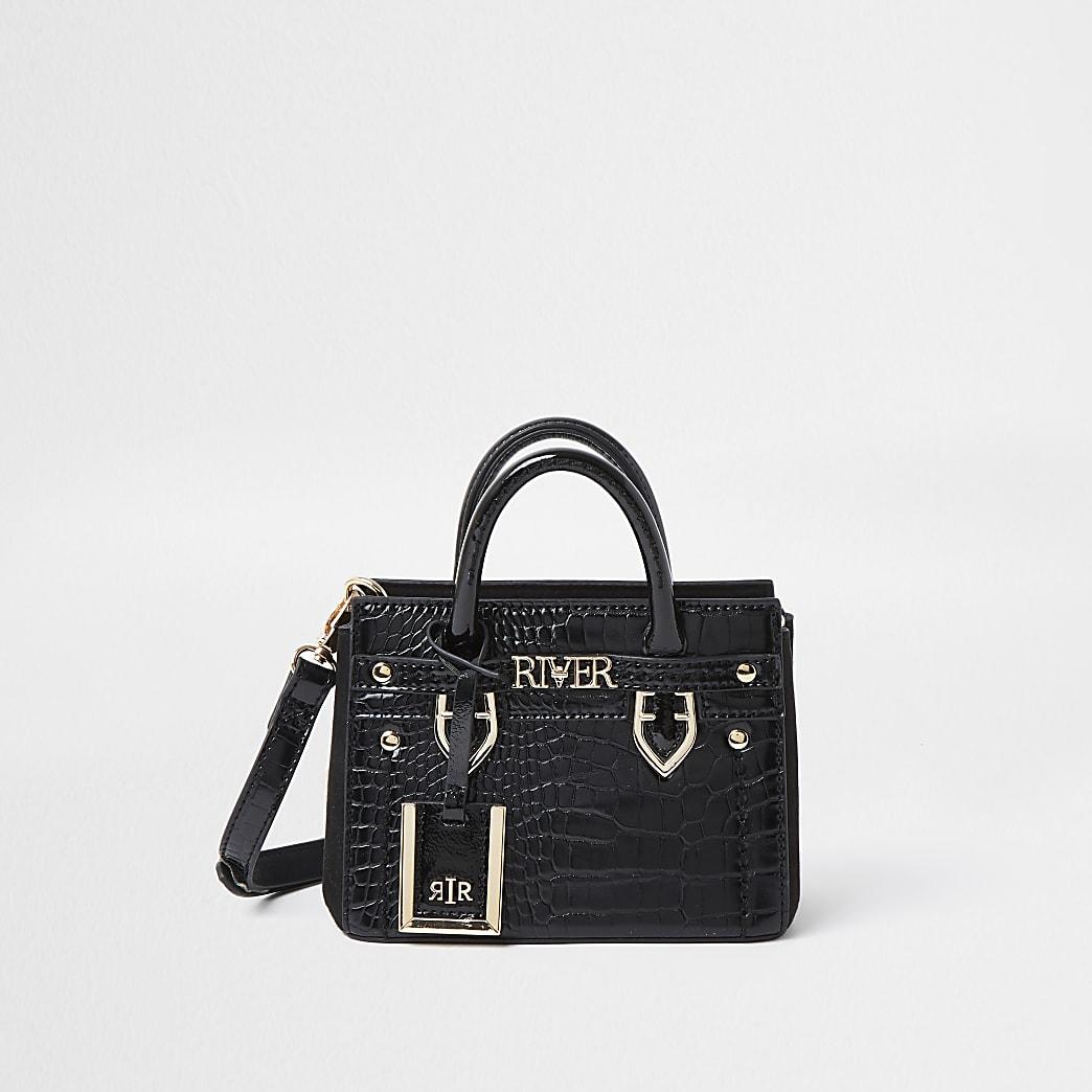 Black RI embossed mini tote bag