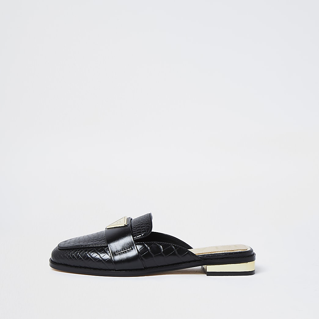 Black RI embossed mule loafers