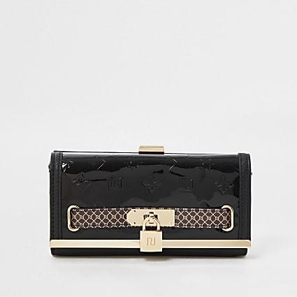 Black RI embossed padlock clip top purse