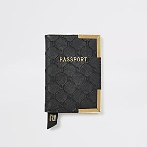 Étuipour passeport noir avec logo RI en relief