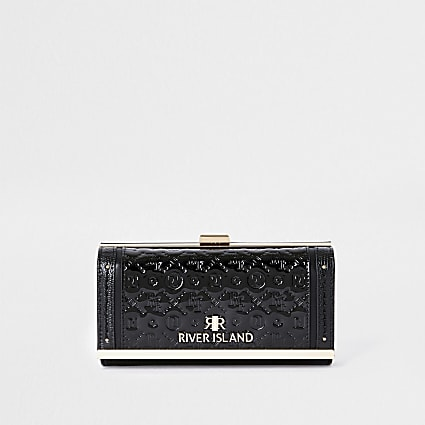 Black RI embossed patent cliptop purse