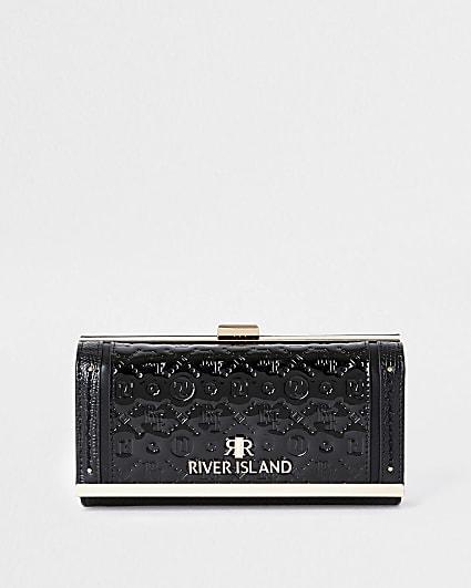 Black RI embossed patent cliptop purse
