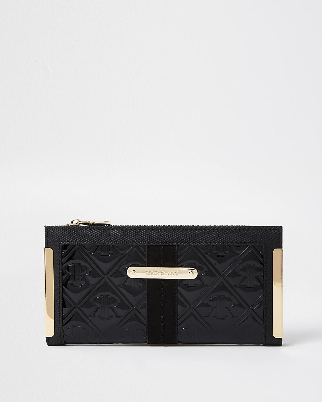 Black RI embossed patent foldout purse