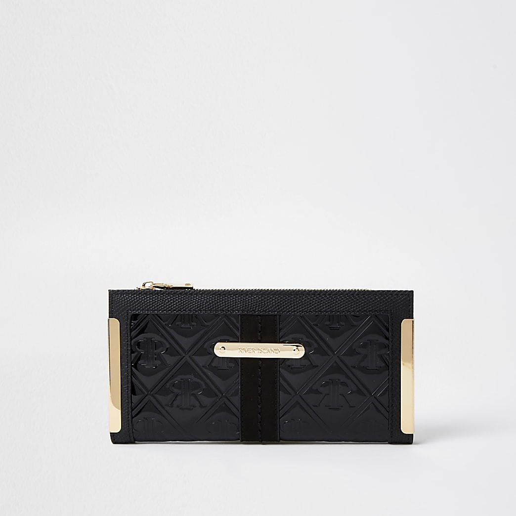 Black RI embossed patent foldout purse
