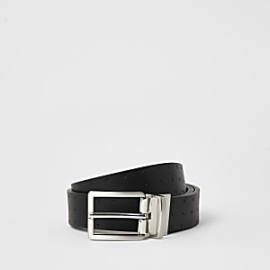Black RI embossed reversible belt
