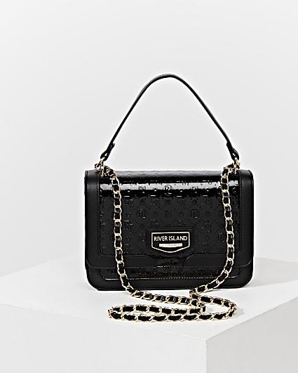 Black RI embossed satchel bag