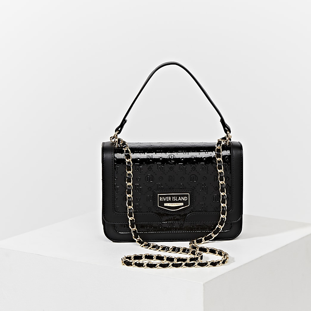 Black RI embossed satchel bag