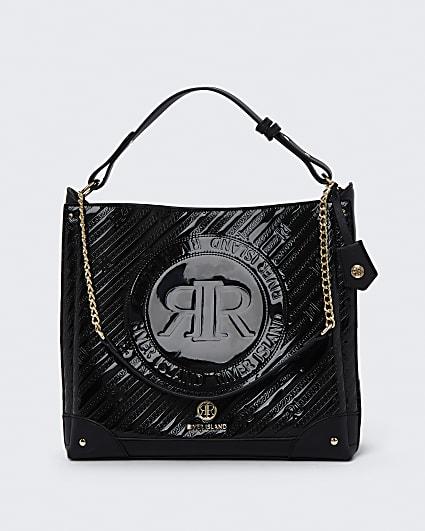 Black RI embossed slouch bag