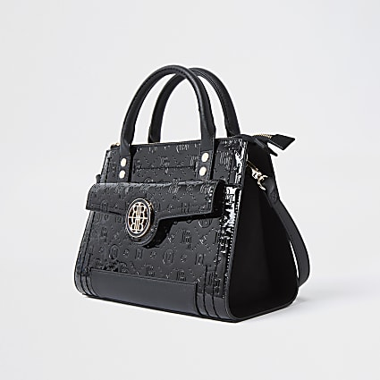 Black RI embossed tote bag