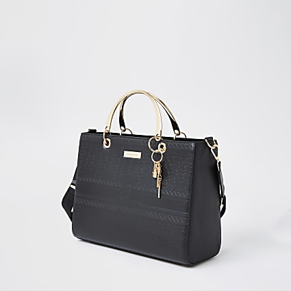 Black RI embossed tote handbag