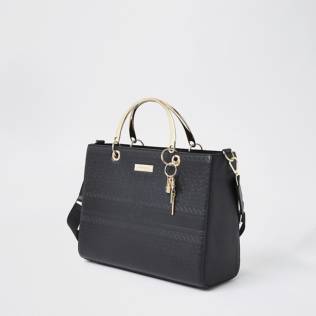 Black RI embossed tote handbag