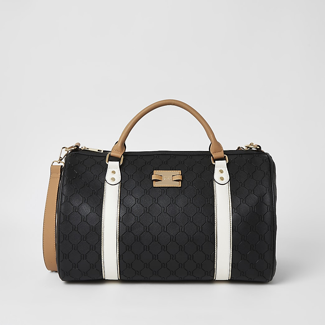 Black RI embossed weekend duffel bag