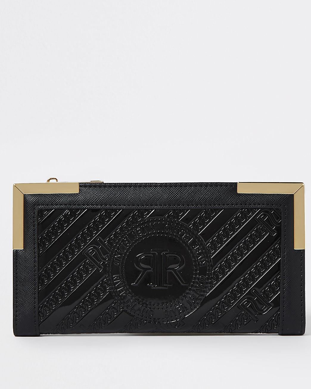 Black RI embossed zip around purse