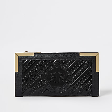 Black RI embossed zip around purse