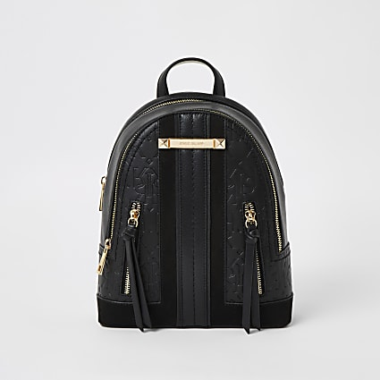 Black RI embossed zip front backpack