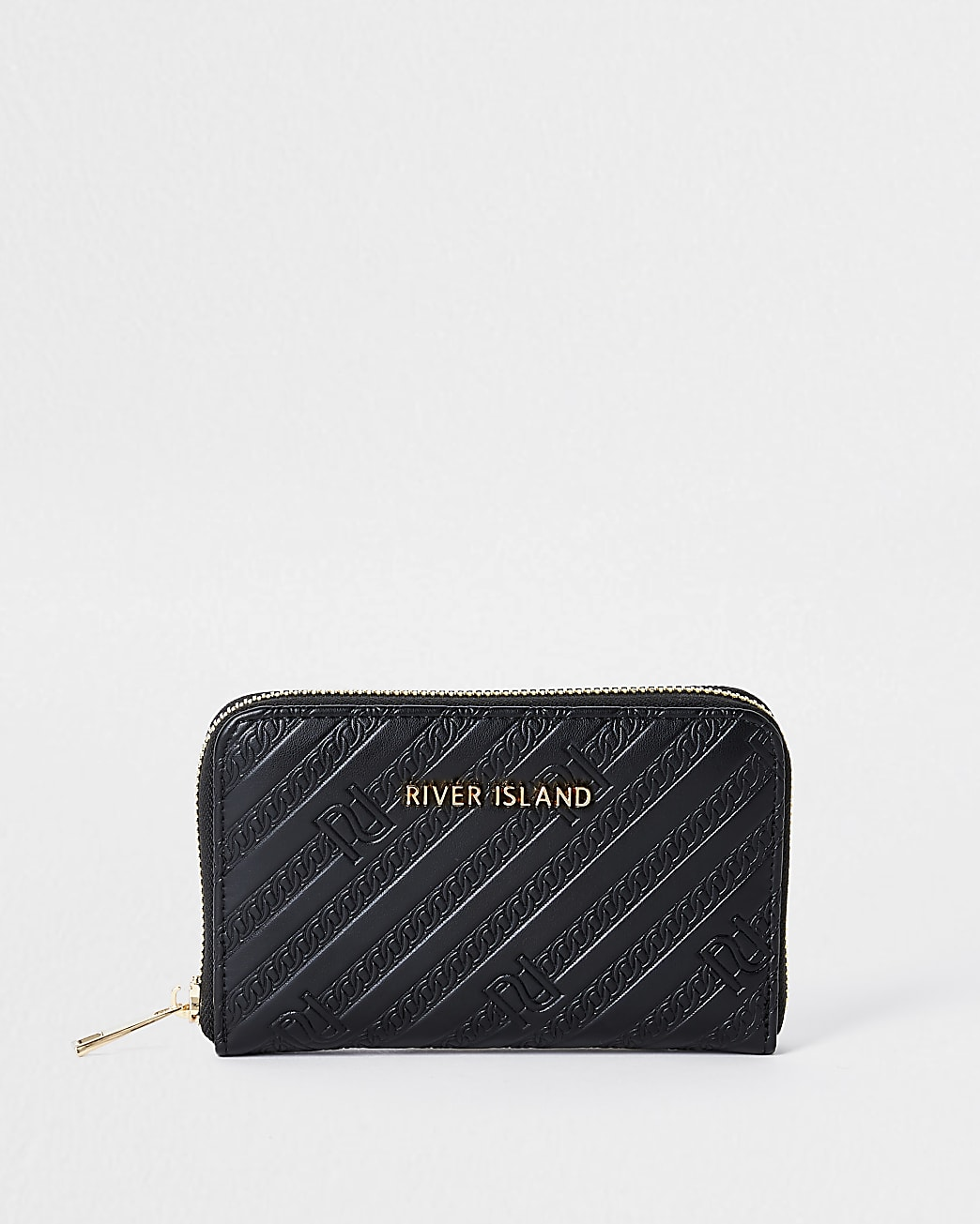 Black RI embossed ziparound purse