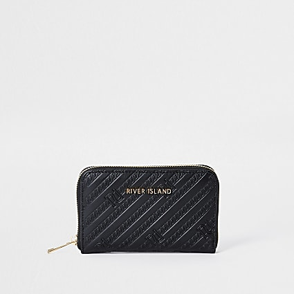 Black RI embossed ziparound purse