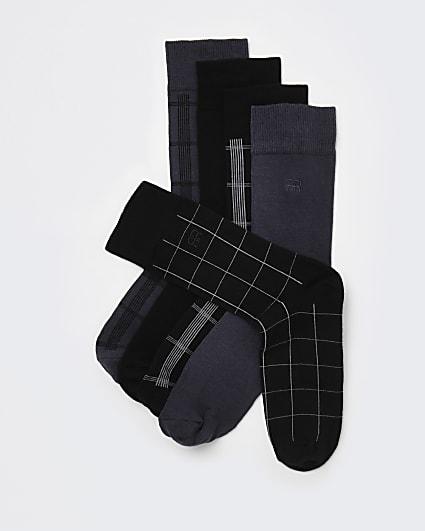 Black RI embroidered check ankle socks 5 pack