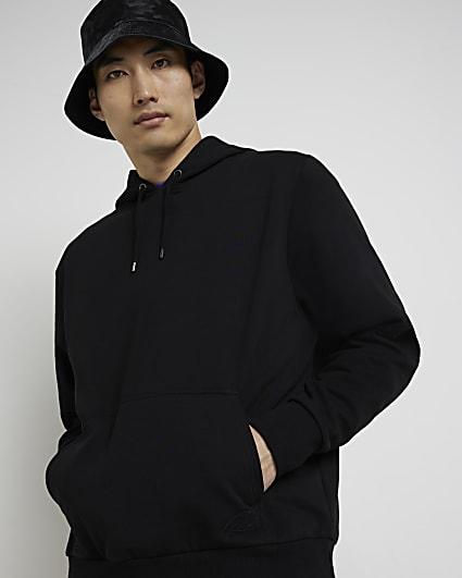 Black RI embroidered regular fit hoodie