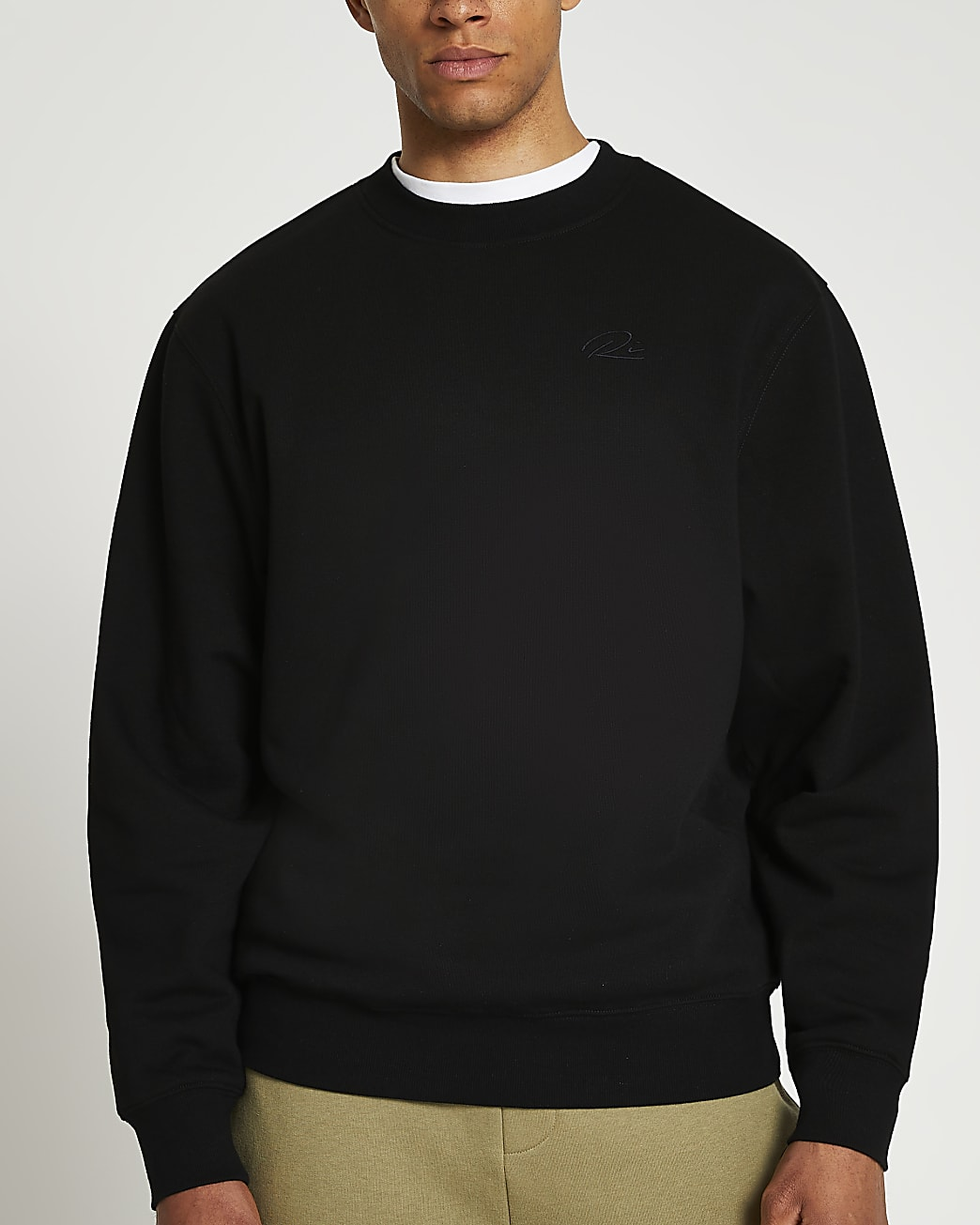 Black RI embroidered regular fit sweatshirt